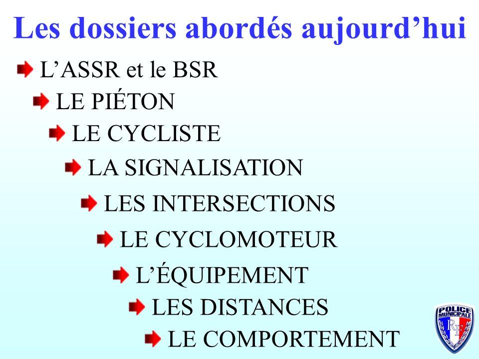 Les dossiers abordés aujourdhui LASSR et le BSR LE PIÉTON LE CYCLISTE LA SIGNALISATION LES INTERSECTIONS LE CYCLOMOTEUR LÉQUIPEMENT LES DISTANCES LE COMPORTEMENT