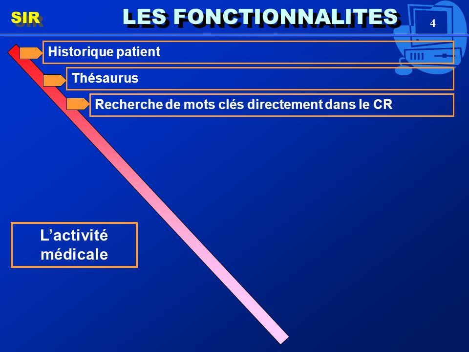 4 LES FONCTIONNALITES SIR Lactivité médicale Historique patient Thésaurus Recherche de mots clés directement dans le CR