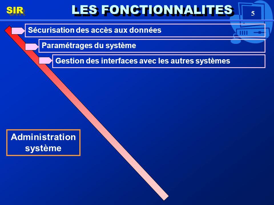 5 LES FONCTIONNALITES SIR Administration système Sécurisation des accès aux données Paramétrages du système Gestion des interfaces avec les autres systèmes