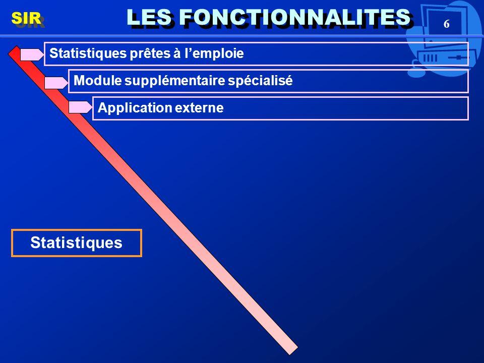 6 LES FONCTIONNALITES SIR Statistiques Statistiques prêtes à lemploie Module supplémentaire spécialisé Application externe
