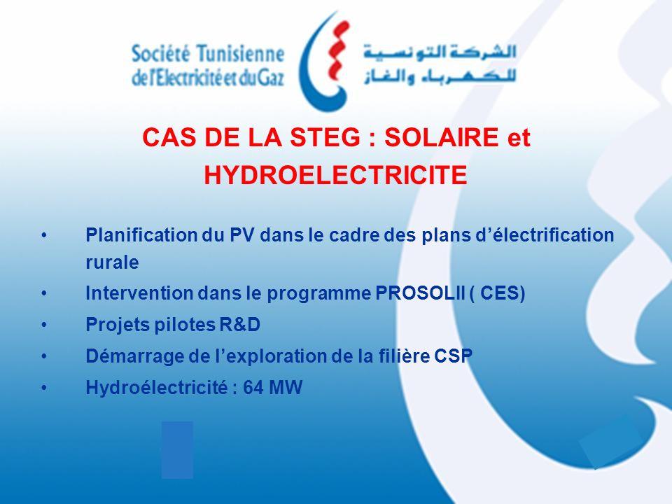 CAS DE LA STEG : SOLAIRE et HYDROELECTRICITE Planification du PV dans le cadre des plans délectrification rurale Intervention dans le programme PROSOL