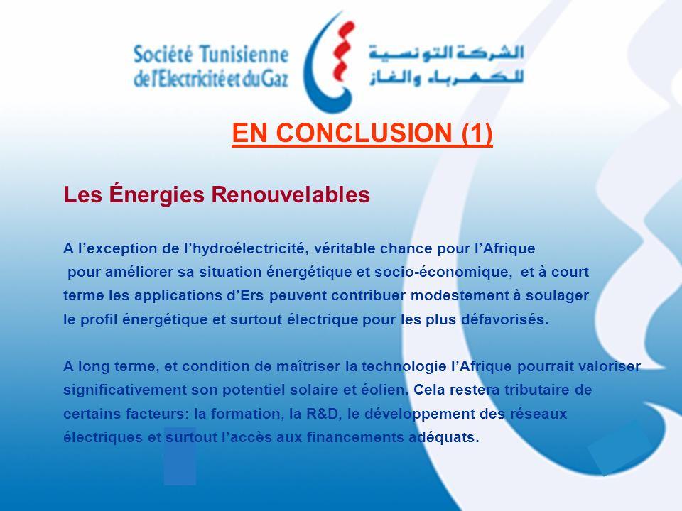 EN CONCLUSION (1) Les Énergies Renouvelables A lexception de lhydroélectricité, véritable chance pour lAfrique pour améliorer sa situation énergétique