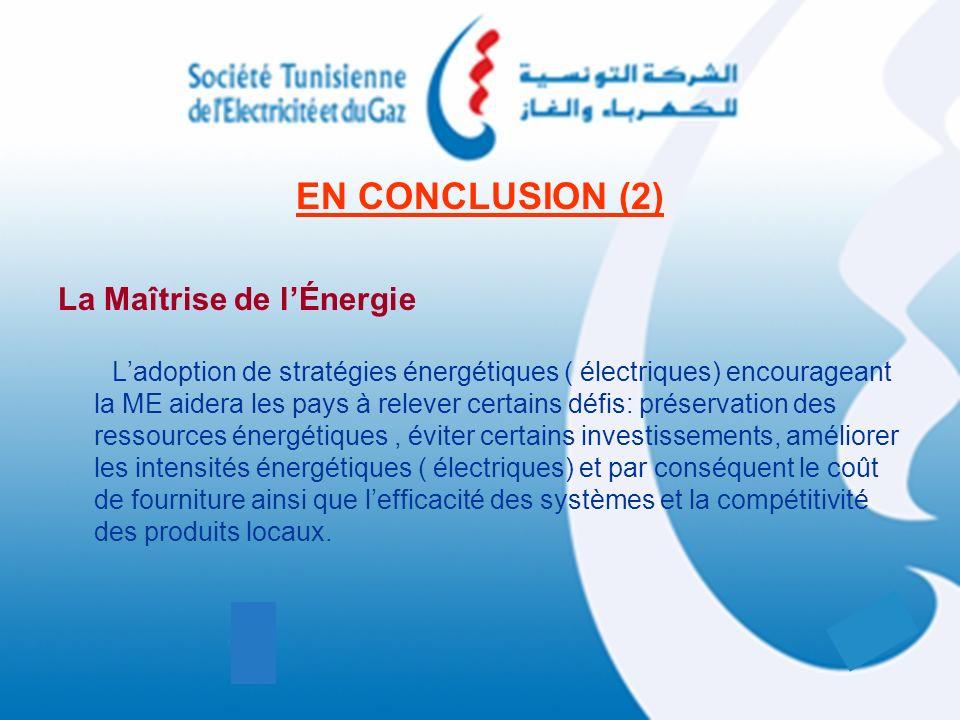 EN CONCLUSION (2) La Maîtrise de lÉnergie Ladoption de stratégies énergétiques ( électriques) encourageant la ME aidera les pays à relever certains dé