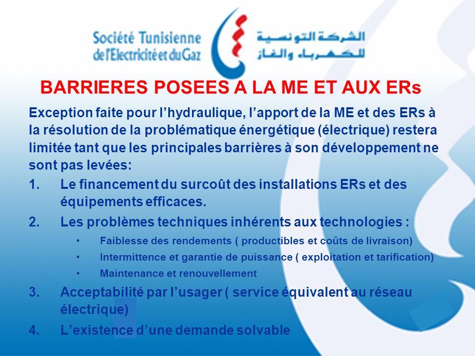 Exception faite pour lhydraulique, lapport de la ME et des ERs à la résolution de la problématique énergétique (électrique) restera limitée tant que l