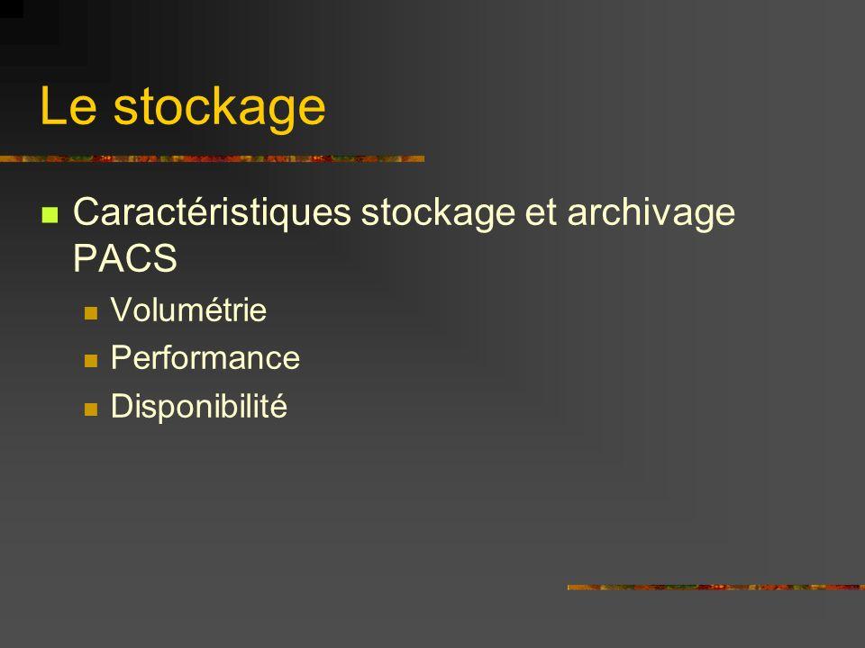 Le stockage Caractéristiques stockage et archivage PACS Volumétrie Performance Disponibilité