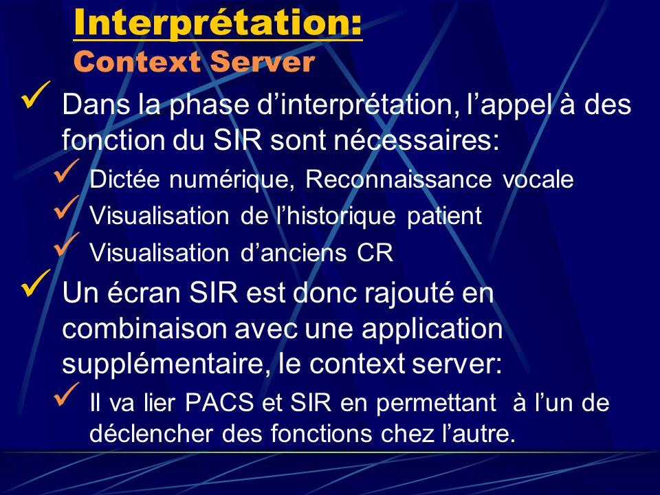 Interprétation: Context Server Dans la phase dinterprétation, lappel à des fonction du SIR sont nécessaires: Dictée numérique, Reconnaissance vocale V