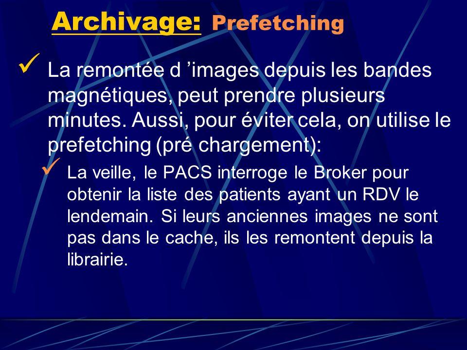 La remontée d images depuis les bandes magnétiques, peut prendre plusieurs minutes. Aussi, pour éviter cela, on utilise le prefetching (pré chargement