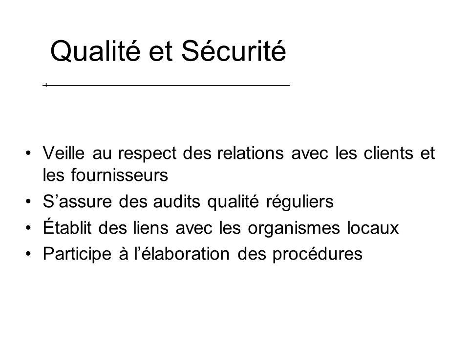 Qualité et Sécurité Veille au respect des relations avec les clients et les fournisseurs Sassure des audits qualité réguliers Établit des liens avec les organismes locaux Participe à lélaboration des procédures