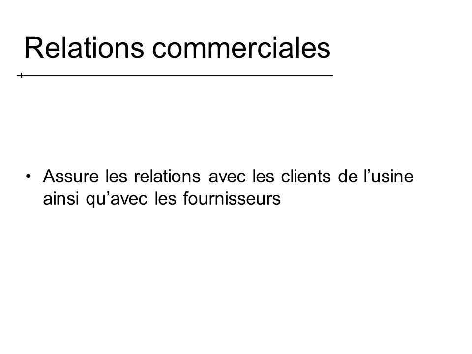 Relations commerciales Assure les relations avec les clients de lusine ainsi quavec les fournisseurs