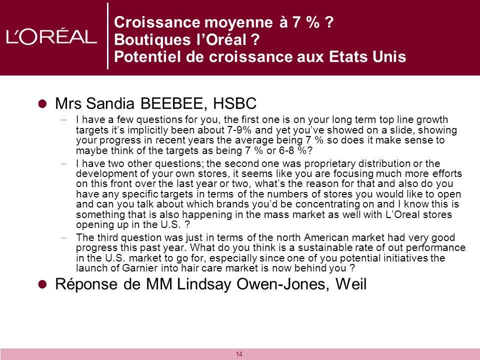 14 Croissance moyenne à 7 % ? Boutiques lOréal ? Potentiel de croissance aux Etats Unis Mrs Sandia BEEBEE, HSBC –I have a few questions for you, the f