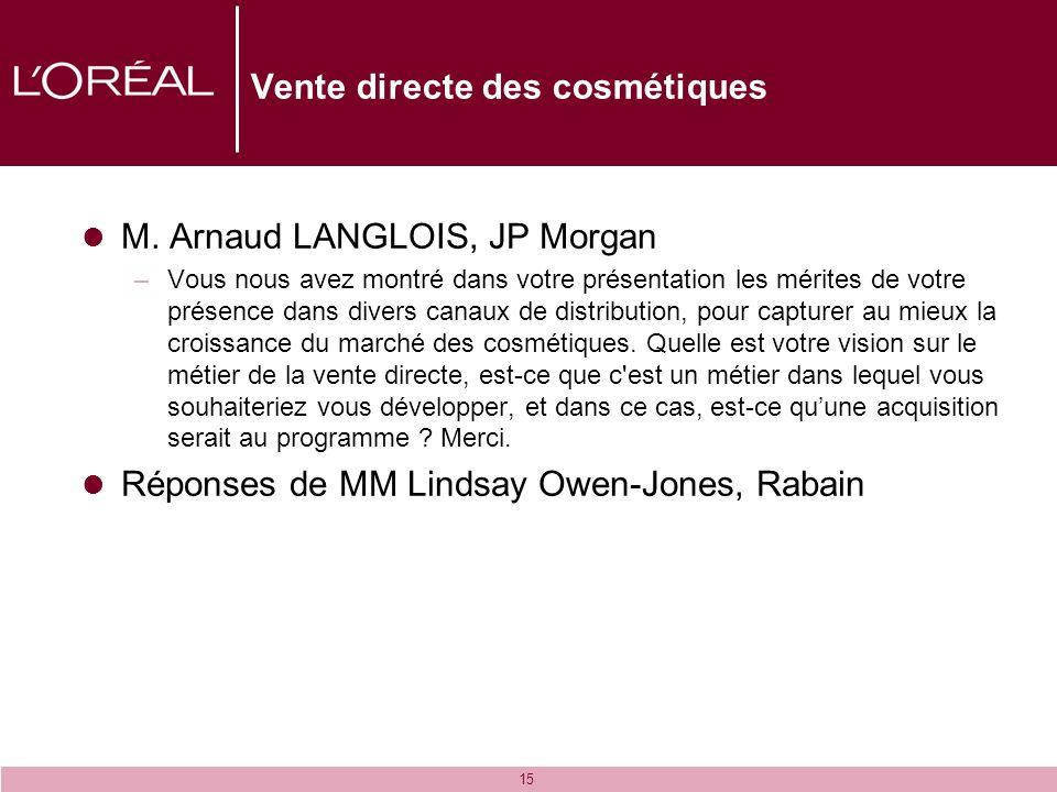 15 Vente directe des cosmétiques M. Arnaud LANGLOIS, JP Morgan –Vous nous avez montré dans votre présentation les mérites de votre présence dans diver