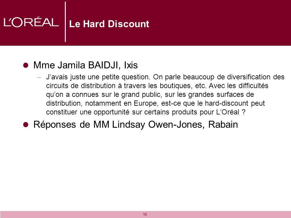 16 Le Hard Discount Mme Jamila BAIDJI, Ixis –Javais juste une petite question. On parle beaucoup de diversification des circuits de distribution à tra
