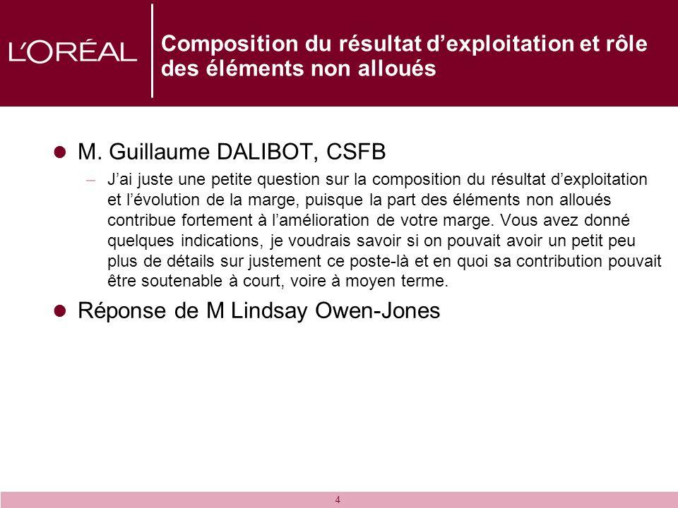 4 Composition du résultat dexploitation et rôle des éléments non alloués M. Guillaume DALIBOT, CSFB –Jai juste une petite question sur la composition