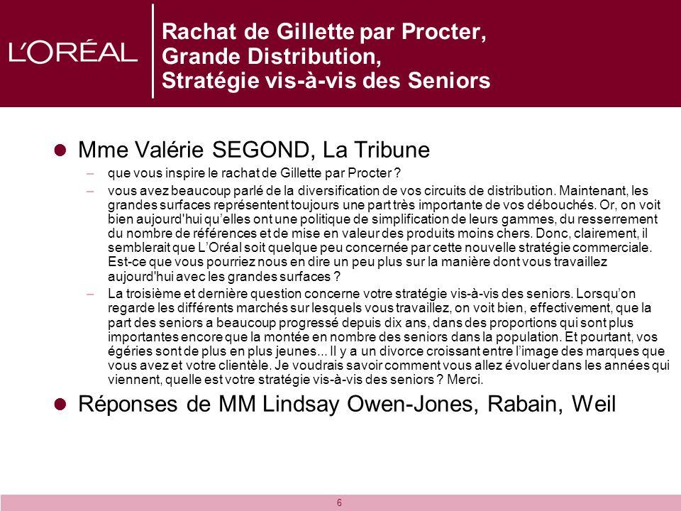 6 Rachat de Gillette par Procter, Grande Distribution, Stratégie vis-à-vis des Seniors Mme Valérie SEGOND, La Tribune –que vous inspire le rachat de G