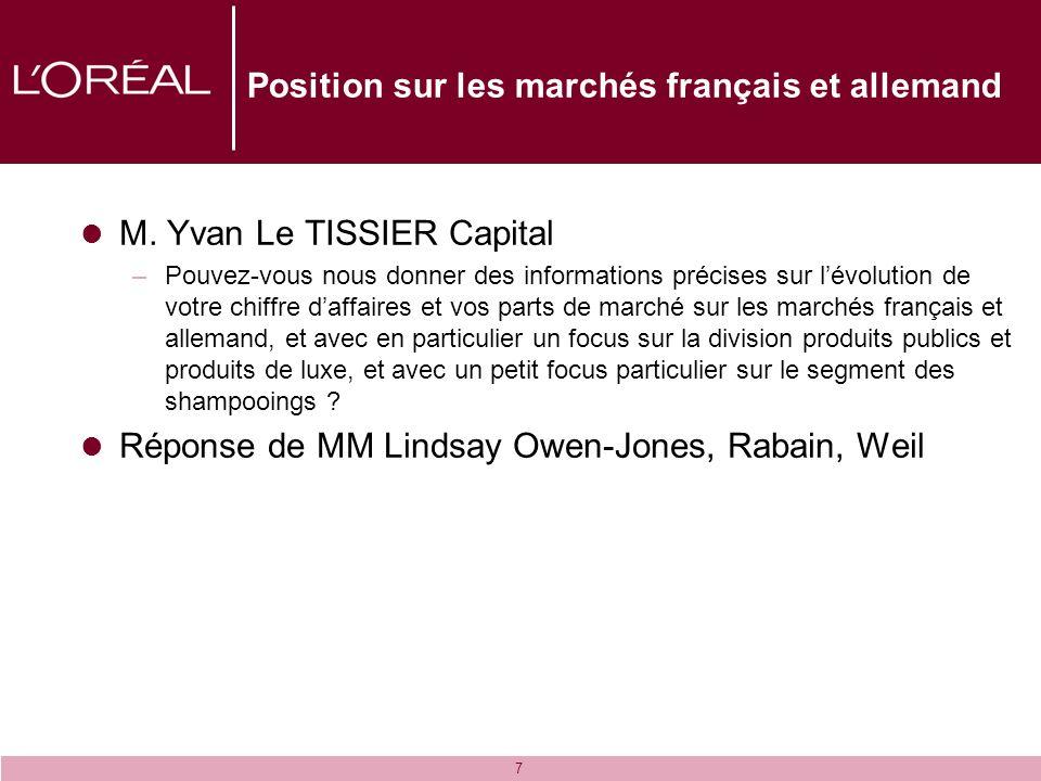 7 Position sur les marchés français et allemand M. Yvan Le TISSIER Capital –Pouvez-vous nous donner des informations précises sur lévolution de votre