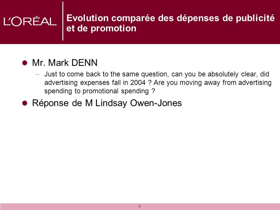 9 Evolution comparée des dépenses de publicité et de promotion Mr. Mark DENN –Just to come back to the same question, can you be absolutely clear, did