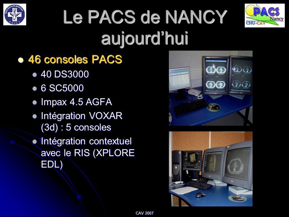 CAV 2007 Le PACS de NANCY aujourdhui 46 consoles PACS 46 consoles PACS 40 DS3000 40 DS3000 6 SC5000 6 SC5000 Impax 4.5 AGFA Impax 4.5 AGFA Intégration