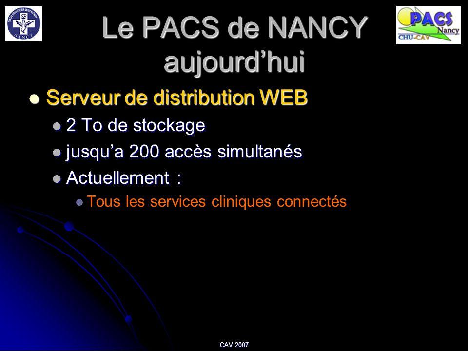 Le PACS de NANCY aujourdhui Serveur de distribution WEB Serveur de distribution WEB 2 To de stockage 2 To de stockage jusqua 200 accès simultanés jusq
