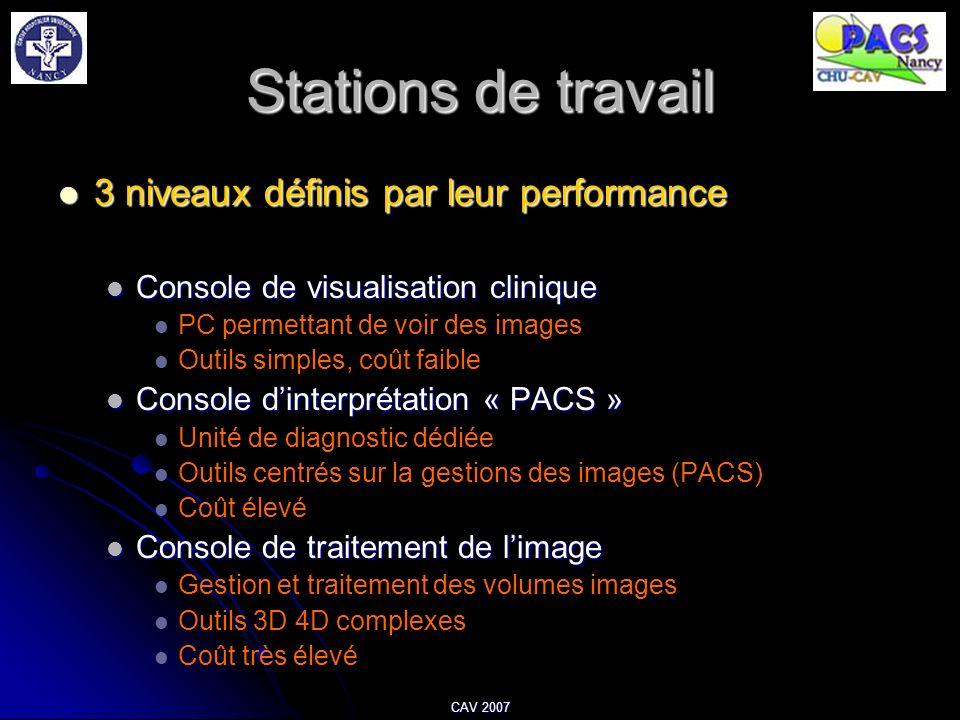 CAV 2007 Stations de travail 3 niveaux définis par leur performance 3 niveaux définis par leur performance Console de visualisation clinique Console d