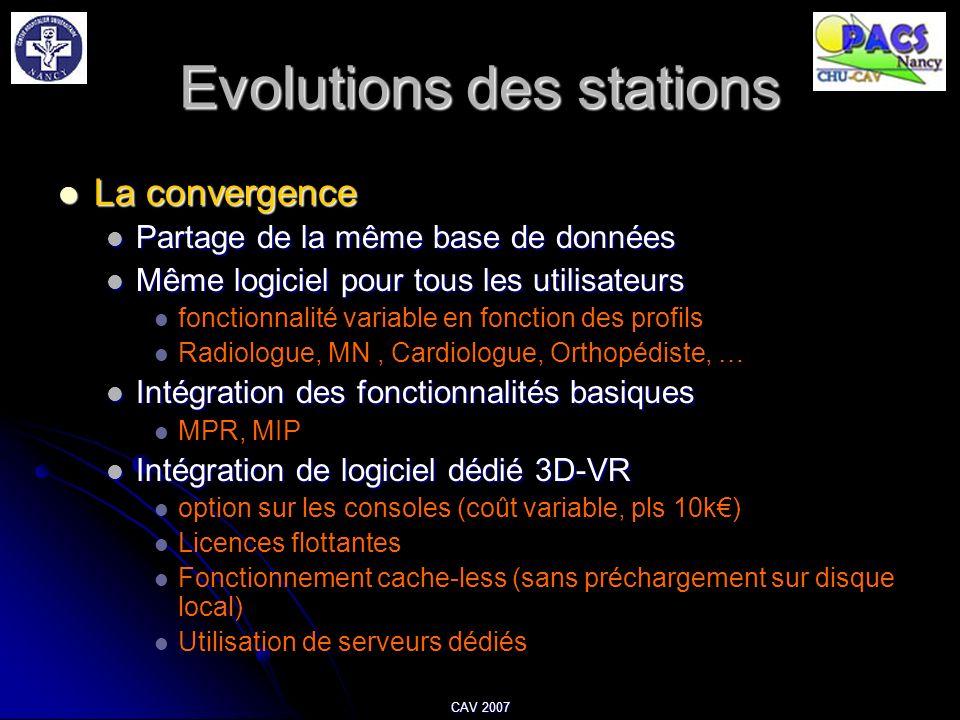 CAV 2007 Evolutions des stations La convergence La convergence Partage de la même base de données Partage de la même base de données Même logiciel pou