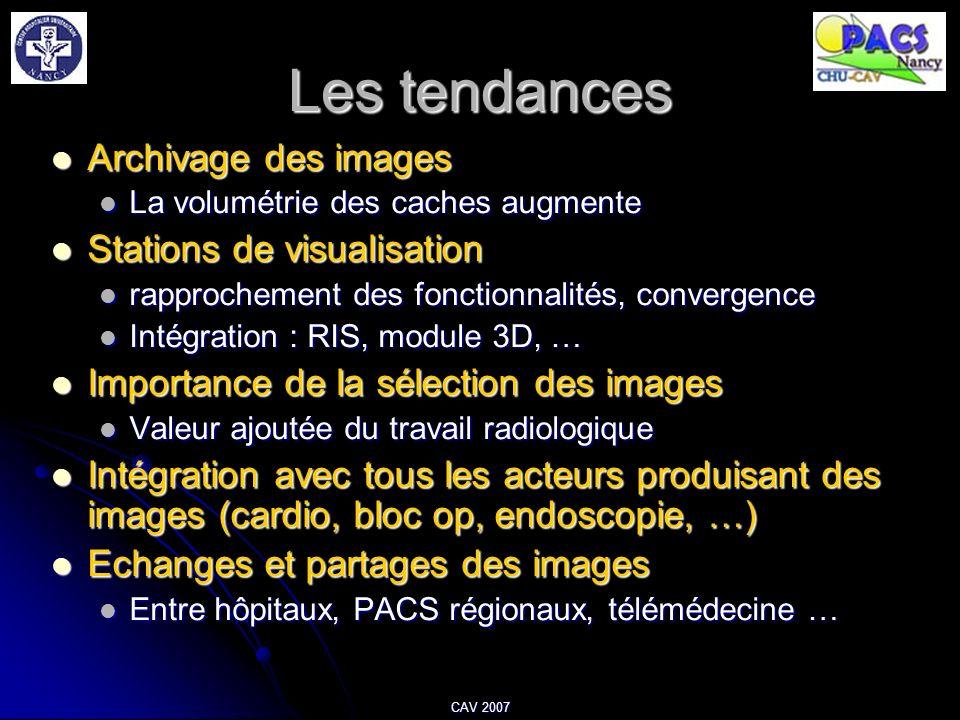 CAV 2007 Les tendances Archivage des images Archivage des images La volumétrie des caches augmente La volumétrie des caches augmente Stations de visua
