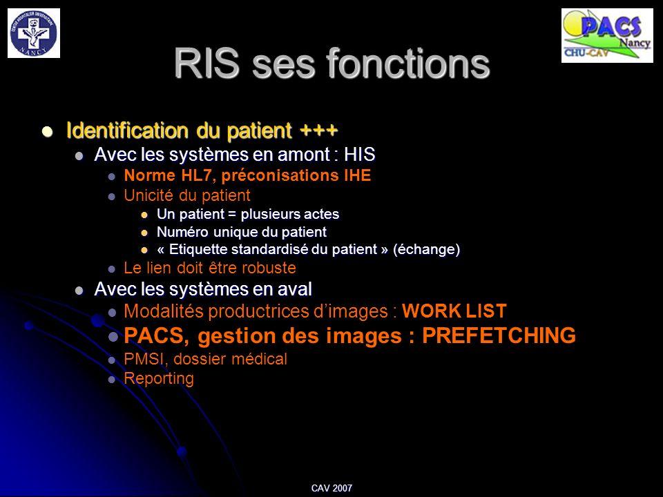 CAV 2007 RIS ses fonctions Identification du patient +++ Identification du patient +++ Avec les systèmes en amont : HIS Avec les systèmes en amont : H