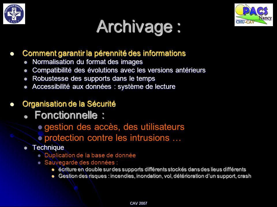 CAV 2007 Archivage : Comment garantir la pérennité des informations Comment garantir la pérennité des informations Normalisation du format des images