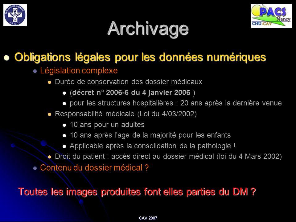 CAV 2007 Archivage Obligations légales pour les données numériques Obligations légales pour les données numériques Législation complexe Durée de conse
