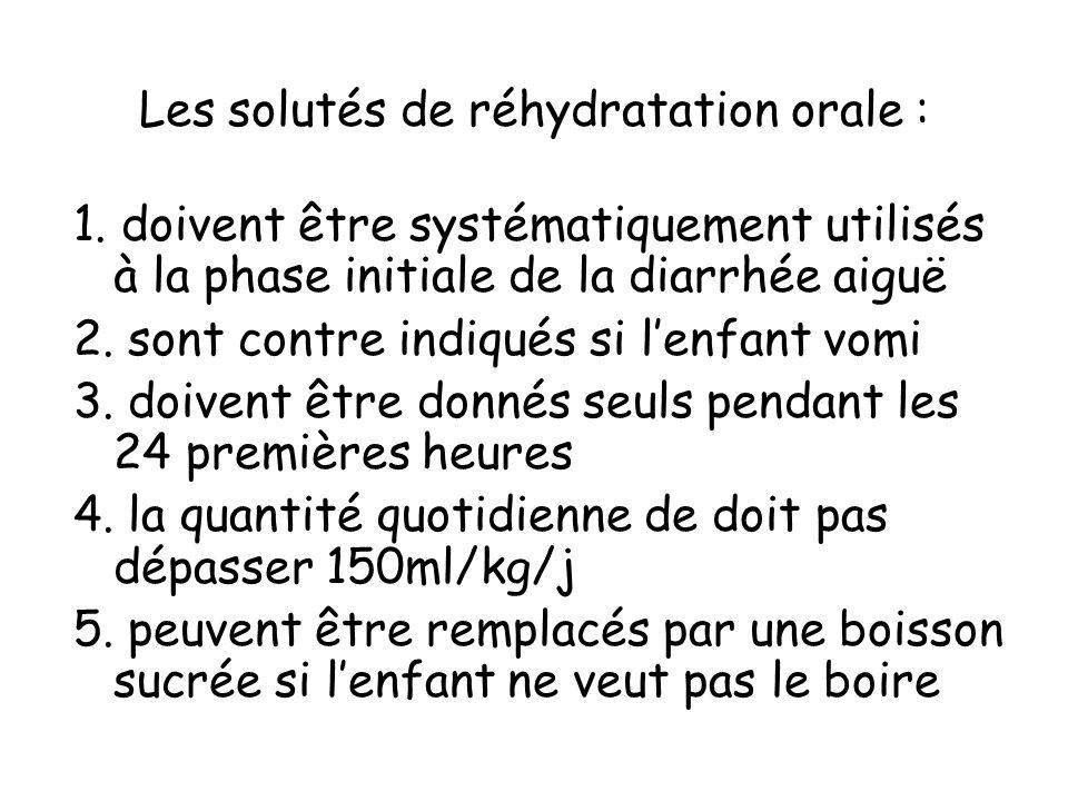 Les solutés de réhydratation orale : 1. doivent être systématiquement utilisés à la phase initiale de la diarrhée aiguë 2. sont contre indiqués si len