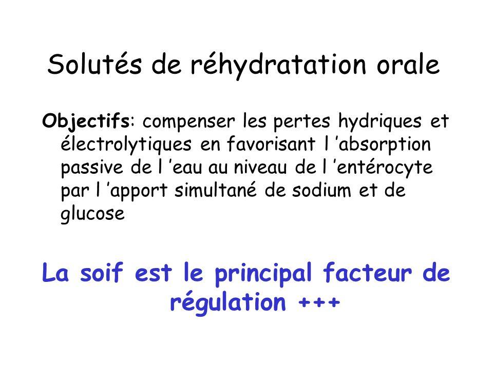 Solutés de réhydratation orale Objectifs: compenser les pertes hydriques et électrolytiques en favorisant l absorption passive de l eau au niveau de l