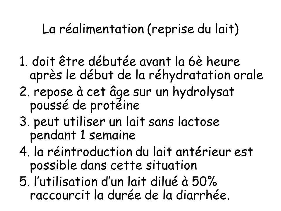 La réalimentation (reprise du lait) 1. doit être débutée avant la 6è heure après le début de la réhydratation orale 2. repose à cet âge sur un hydroly