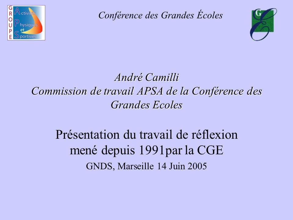 Conférence des Grandes Écoles André Camilli Commission de travail APSA de la Conférence des Grandes Ecoles Présentation du travail de réflexion mené d