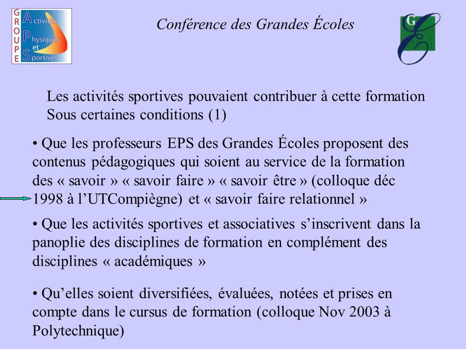 Conférence des Grandes Écoles Les activités sportives pouvaient contribuer à cette formation Sous certaines conditions (1) Quelles soient diversifiées
