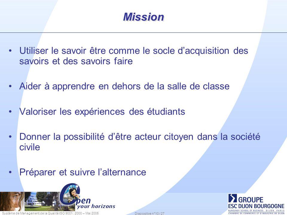 Système de Management de la Qualité ISO 9001 : 2000 – Mai 2005 Diapositive n°10 / 27 Mission Utiliser le savoir être comme le socle dacquisition des s