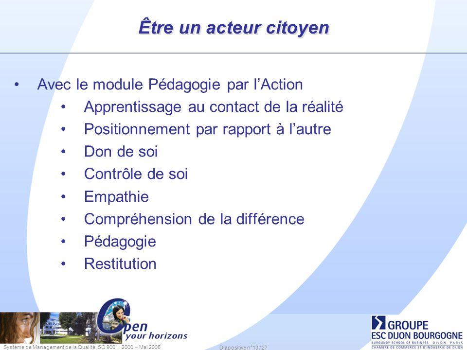 Système de Management de la Qualité ISO 9001 : 2000 – Mai 2005 Diapositive n°13 / 27 Être un acteur citoyen Avec le module Pédagogie par lAction Appre