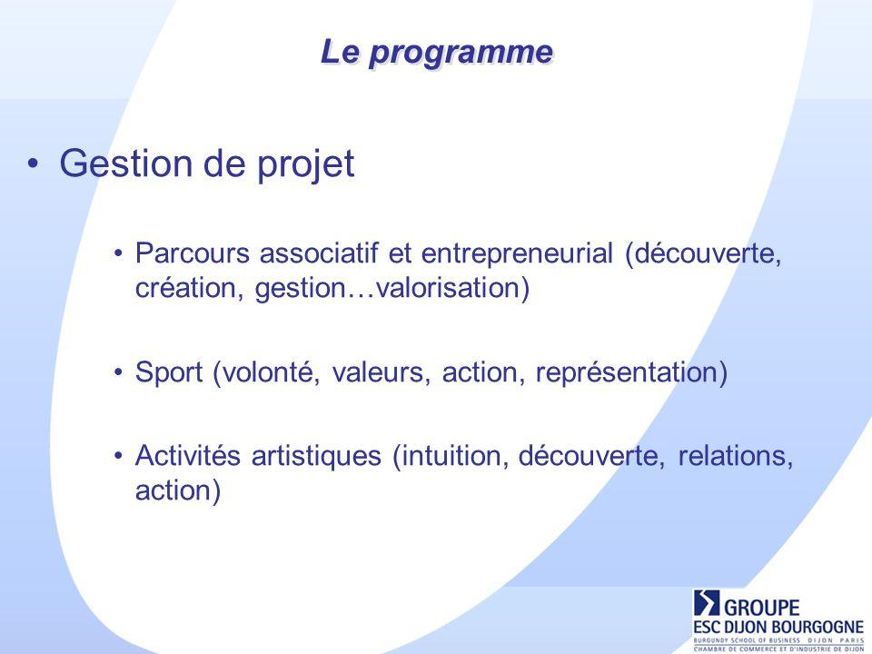 Le programme Gestion de projet Parcours associatif et entrepreneurial (découverte, création, gestion…valorisation) Sport (volonté, valeurs, action, représentation) Activités artistiques (intuition, découverte, relations, action)