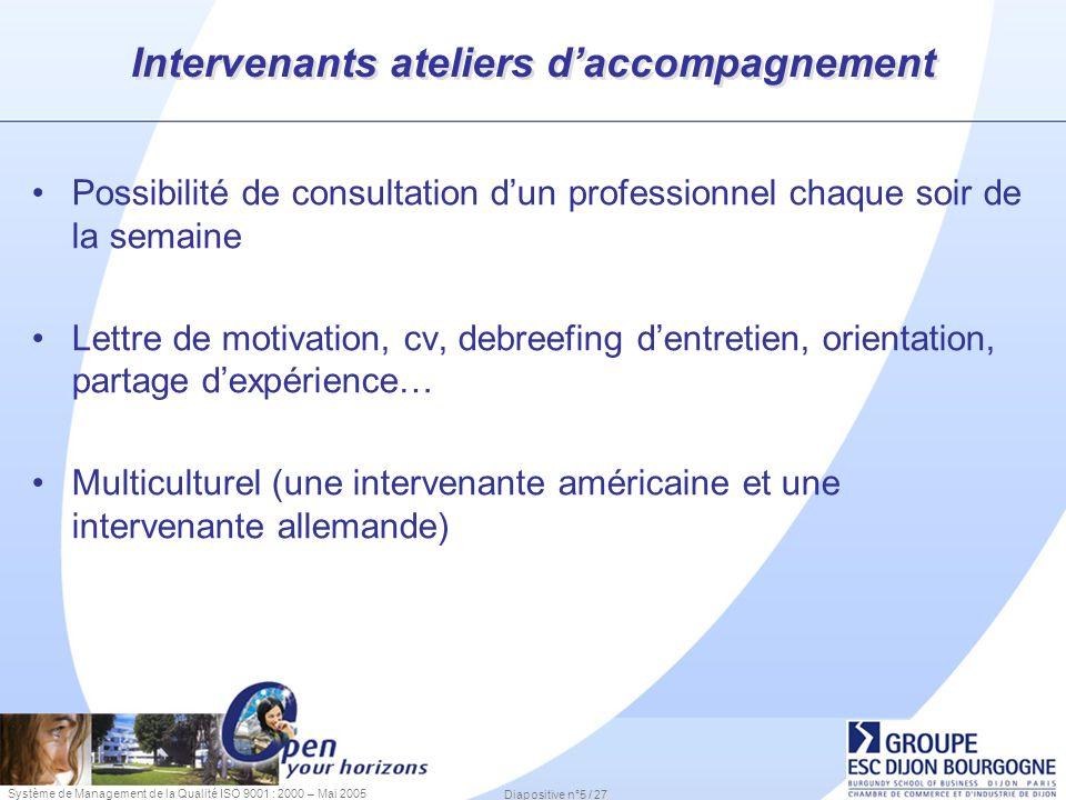 Système de Management de la Qualité ISO 9001 : 2000 – Mai 2005 Diapositive n°5 / 27 Intervenants ateliers daccompagnement Possibilité de consultation