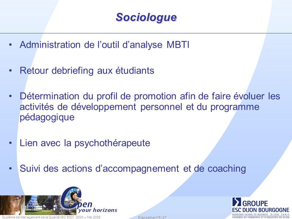 Système de Management de la Qualité ISO 9001 : 2000 – Mai 2005 Diapositive n°6 / 27 Sociologue Administration de loutil danalyse MBTI Retour debriefin