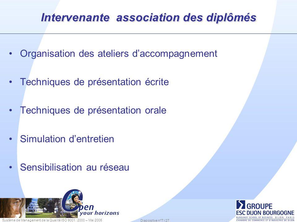 Système de Management de la Qualité ISO 9001 : 2000 – Mai 2005 Diapositive n°7 / 27 Intervenante association des diplômés Organisation des ateliers da