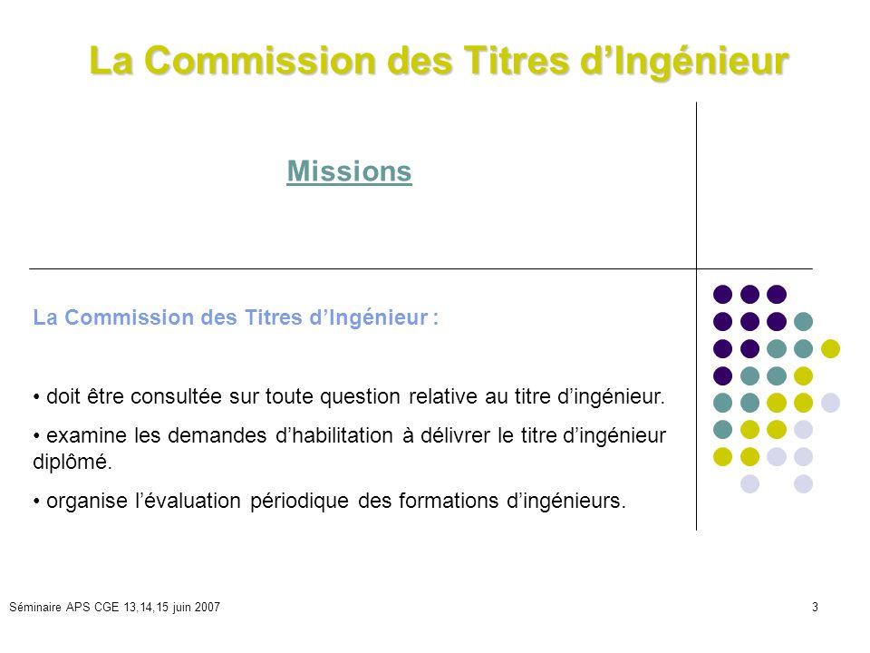 Séminaire APS CGE 13,14,15 juin 20073 La Commission des Titres dIngénieur Missions La Commission des Titres dIngénieur : doit être consultée sur toute question relative au titre dingénieur.