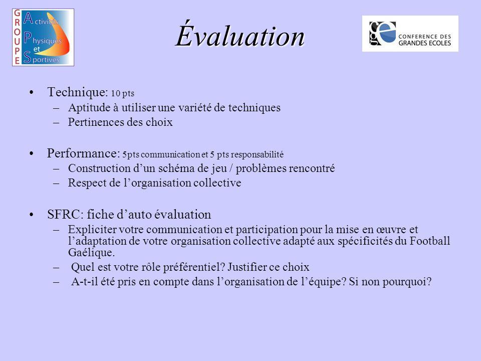Évaluation Technique: 10 pts –Aptitude à utiliser une variété de techniques –Pertinences des choix Performance: 5pts communication et 5 pts responsabi