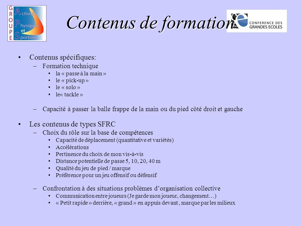 Contenus de formation Contenus spécifiques: –Formation technique la « passe à la main » le « pick-up » le « solo » le« tackle » –Capacité à passer la