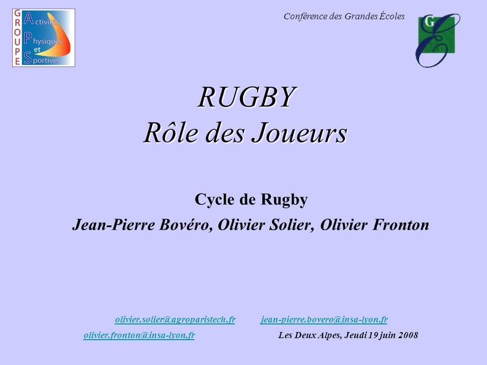 Conférence des Grandes Écoles RUGBY Rôle des Joueurs Cycle de Rugby Jean-Pierre Bovéro, Olivier Solier, Olivier Fronton olivier.solier@agroparistech.f