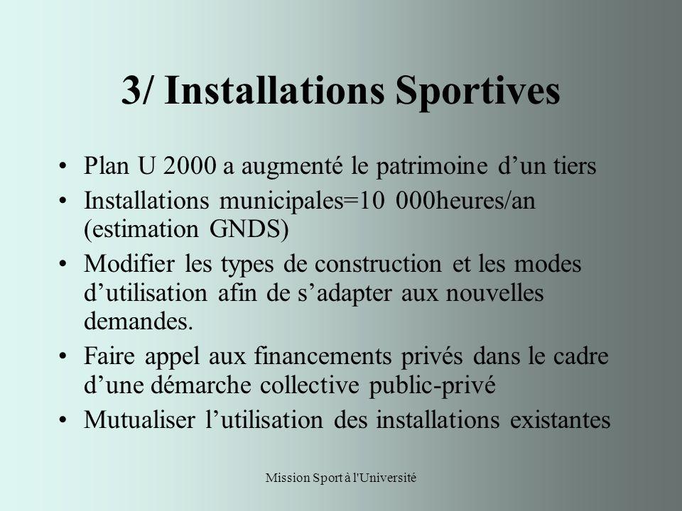Mission Sport à l Université 3/ Installations Sportives Plan U 2000 a augmenté le patrimoine dun tiers Installations municipales=10 000heures/an (estimation GNDS) Modifier les types de construction et les modes dutilisation afin de sadapter aux nouvelles demandes.
