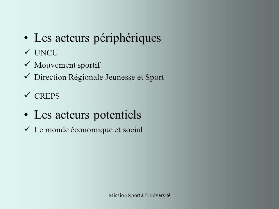 Mission Sport à l Université Les acteurs périphériques UNCU Mouvement sportif Direction Régionale Jeunesse et Sport CREPS Les acteurs potentiels Le monde économique et social