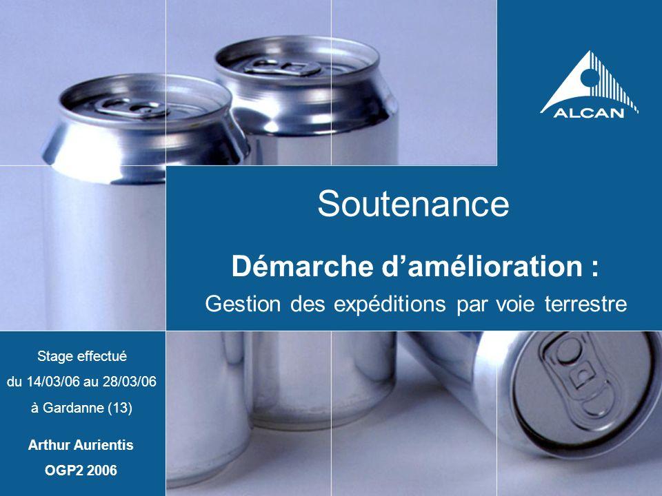 Soutenance Démarche damélioration : Gestion des expéditions par voie terrestre Stage effectué du 14/03/06 au 28/03/06 à Gardanne (13) Arthur Aurientis