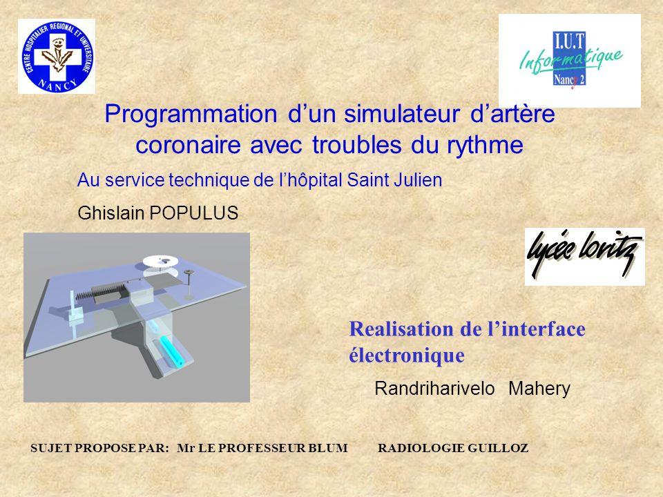 Au service technique de lhôpital Saint Julien Ghislain POPULUS Programmation dun simulateur dartère coronaire avec troubles du rythme SUJET PROPOSE PA