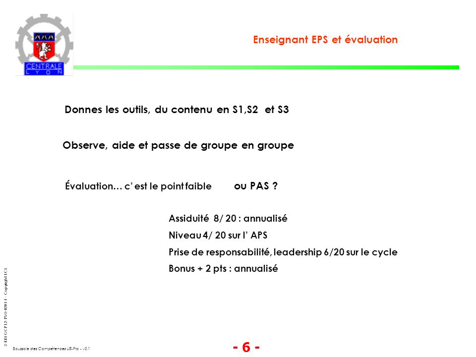 3-KKI-GCP1.2-PSO-0201-F - Copyright ECL Boussole des Compétences UE-Pro - v3.1 - 6 - Enseignant EPS et évaluation Donnes les outils, du contenu en S1,S2 et S3 Observe, aide et passe de groupe en groupe Évaluation… c est le point faible ou PAS .