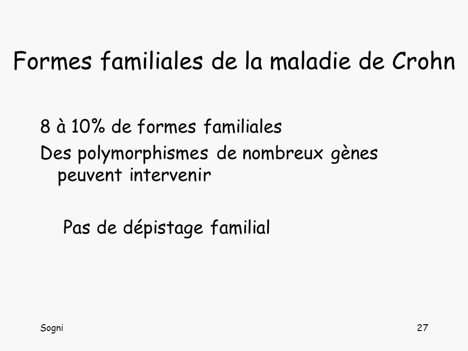Sogni27 Formes familiales de la maladie de Crohn 8 à 10% de formes familiales Des polymorphismes de nombreux gènes peuvent intervenir Pas de dépistage familial