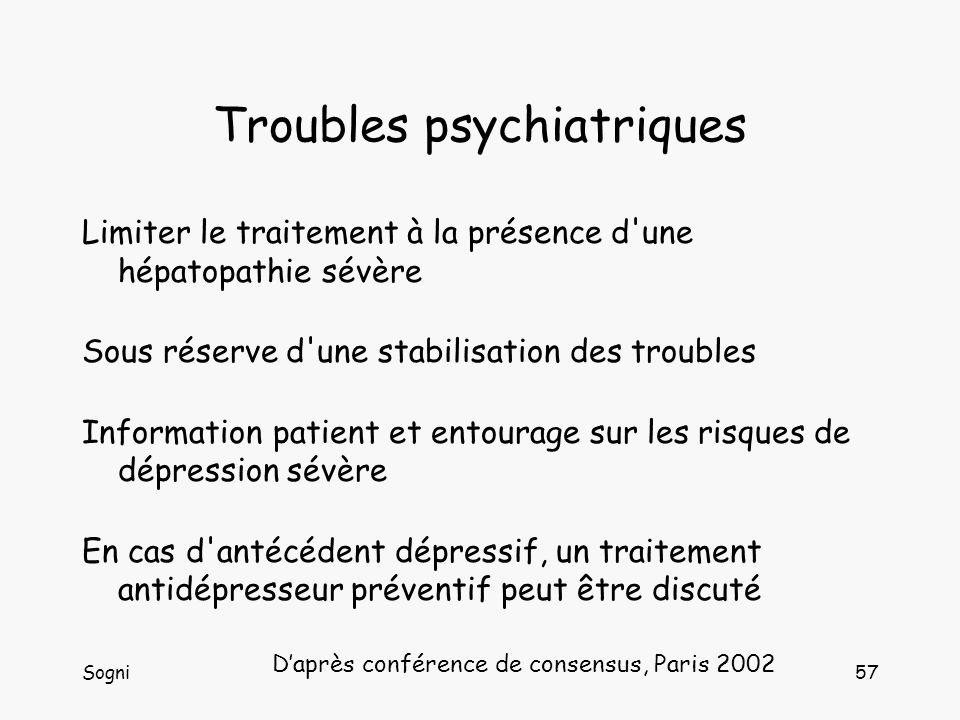 Sogni57 Troubles psychiatriques Limiter le traitement à la présence d une hépatopathie sévère Sous réserve d une stabilisation des troubles Information patient et entourage sur les risques de dépression sévère En cas d antécédent dépressif, un traitement antidépresseur préventif peut être discuté Daprès conférence de consensus, Paris 2002